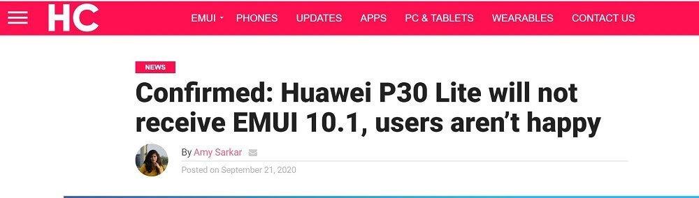 P30 Lite EMUI 10.1 Update HC Artikel