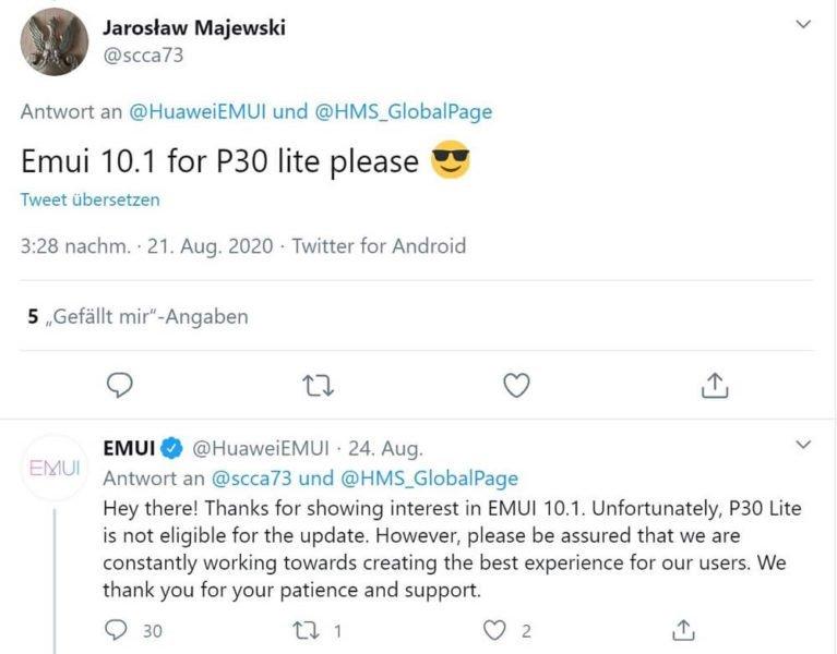 P30 Lite EMUI 10.1 Update Tweet