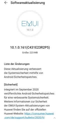 HUAWEI P30 Pro 10.1.0.161 Update Changelog