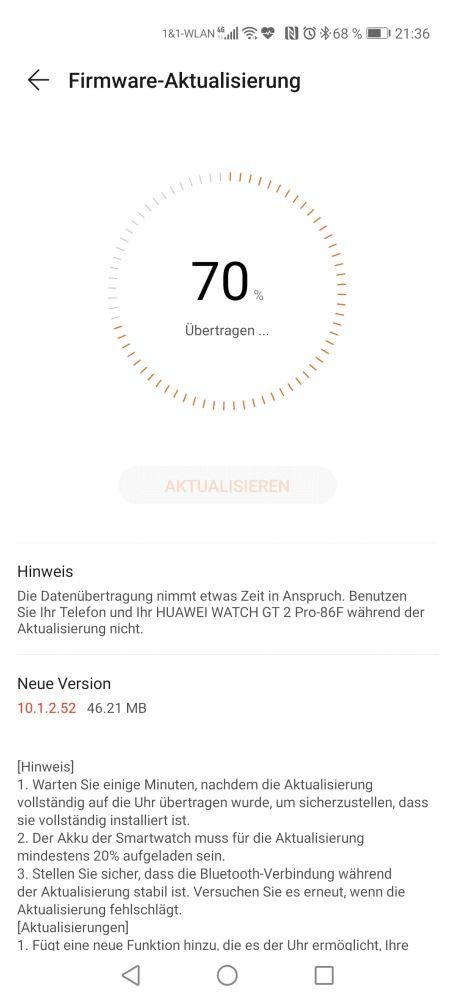 HUAWEI Watch GT 2 Pro Firmwareupdate 10.1.2.52