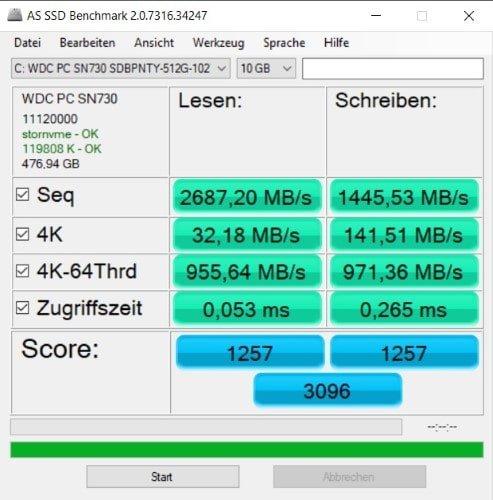 HUAWEI Matebook 14 2020 Test SSD Benchmark