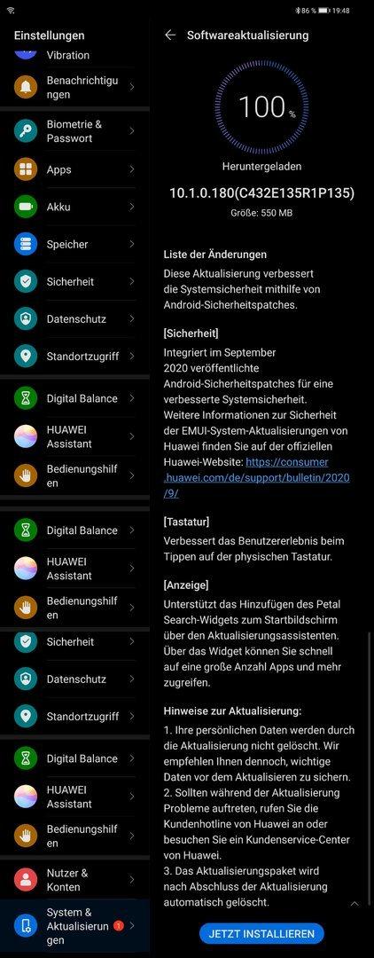 MatePad Pro - Septemberpatch 2020