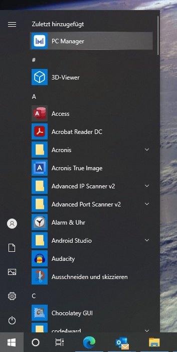 HUAWEI PC Manager Startmenu