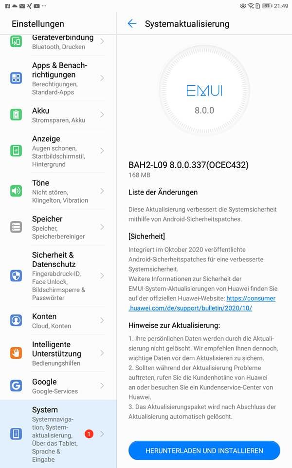 HUAWEI MediaPad M5 Lite erhält den Oktoberpatch 2020 1