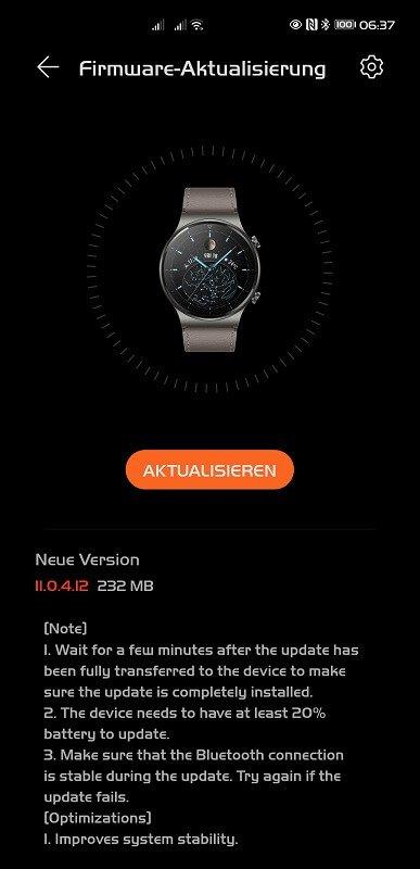 HUAWEI Watch GT 2 Pro Firmwareupdate 11.0.4.12