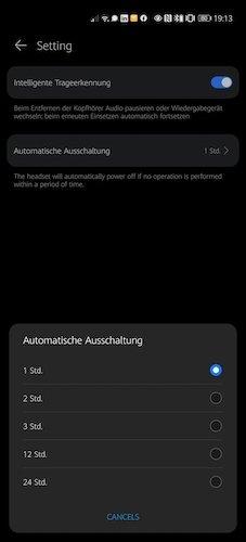 HUAWEI FreeBuds Auto-Abschalten