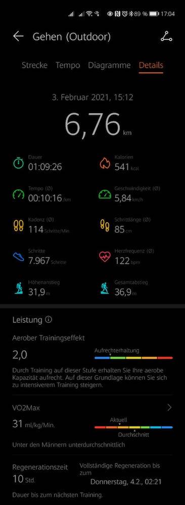 HUAWEI-Health-App-Statistik-Nordic-Walking