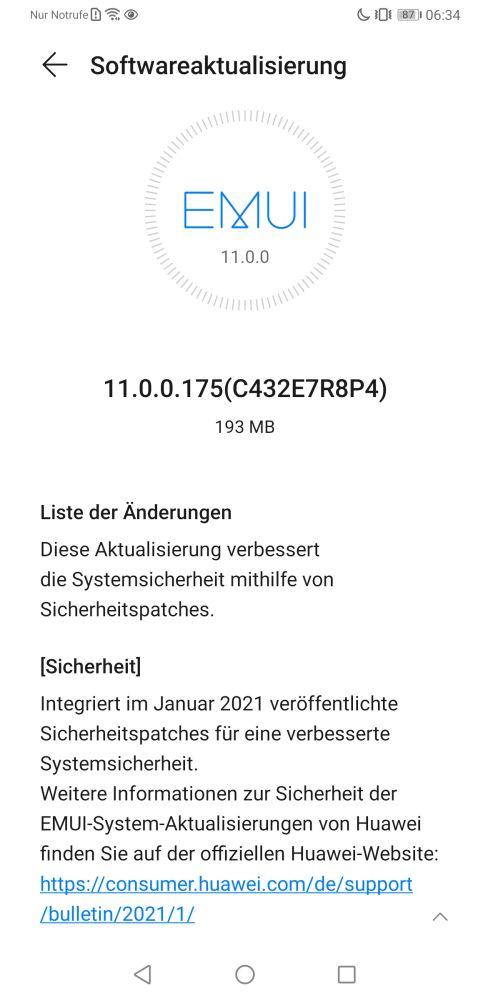 HUAWEI Mate 30 Pro Firmwareupdate 11.0.0.175 Changelog