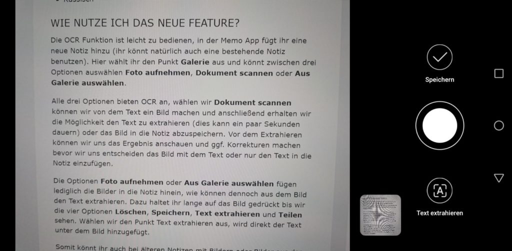Memo App OCR Dokument Scannen
