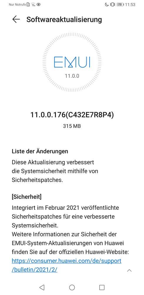 Huawei Mate 30 Pro Firmware Sicherheitspatch Februar 2021