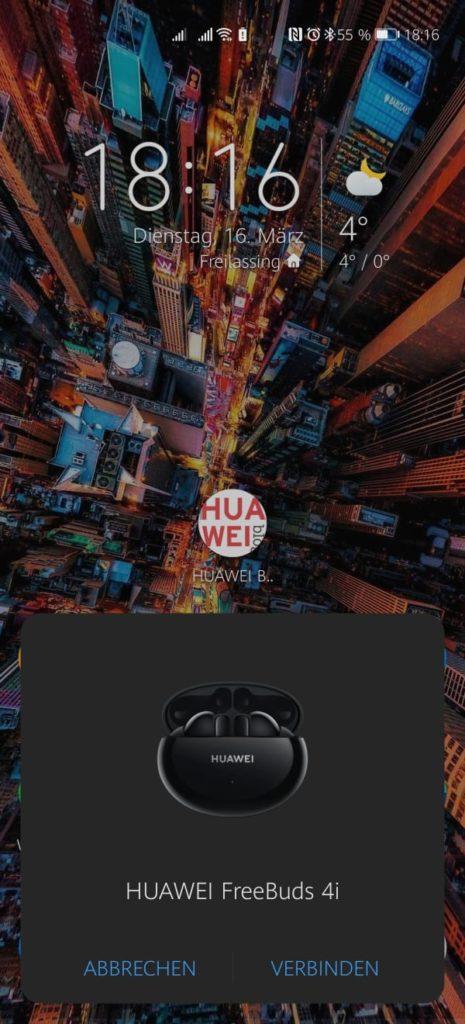 HUAWEI FreeBuds 4i Test - Erstes Koppeln - HUAWEI EMUI 10.1 oder höher