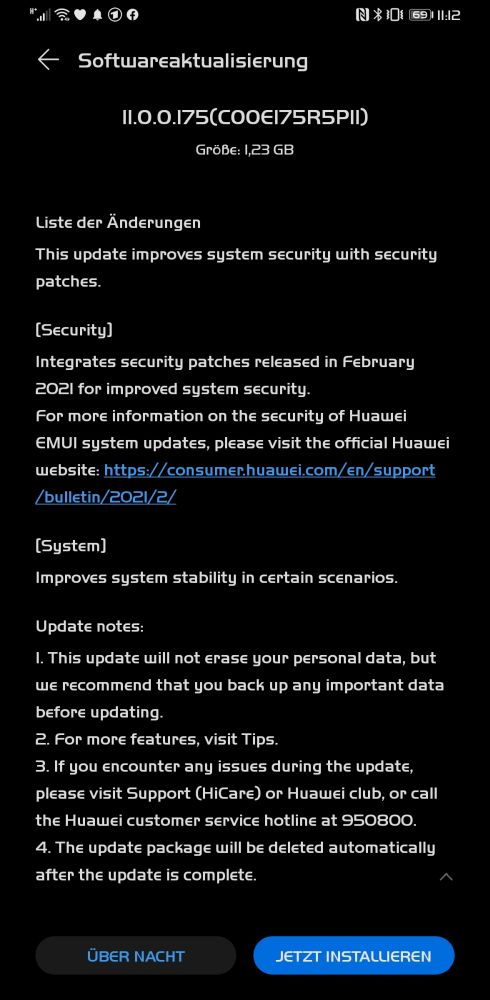 HUAWEI Mate 30 Pro Firmwareupdate Changelog
