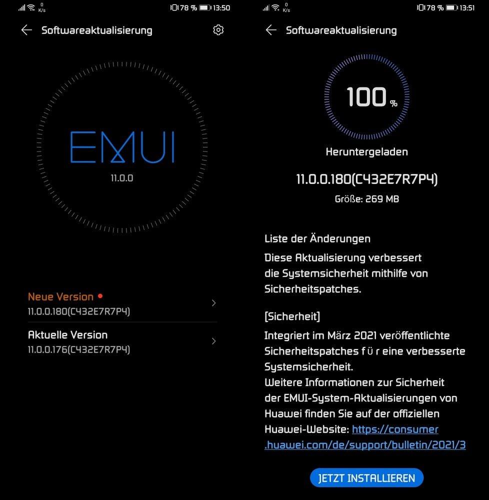 HUAWEI Mate 30 Pro Firmwareupdate Sicherheitspatch März 2021