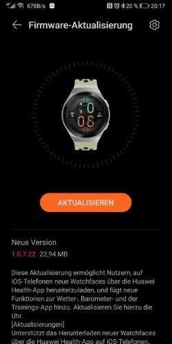 Huawei Watch GT 2e Update mit neuen Funktionen und Watchfaces für IOS 1