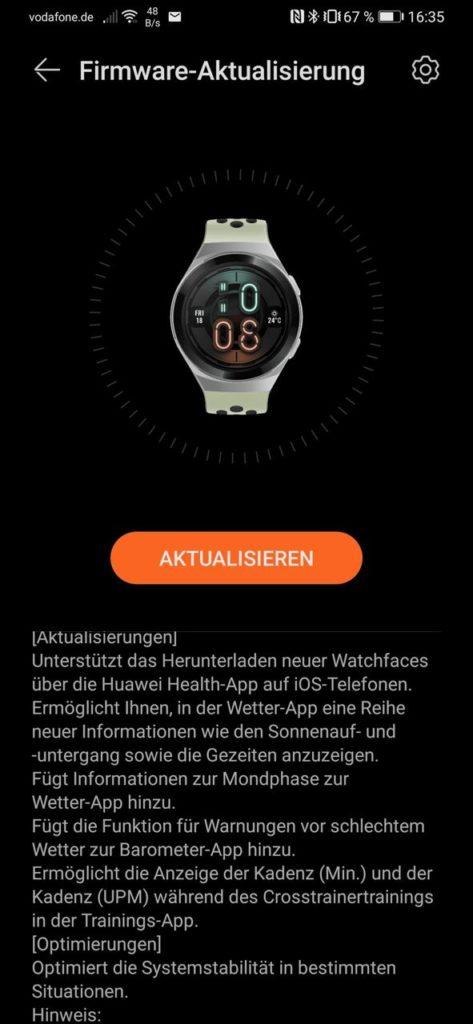 Huawei Watch GT 2e Update mit neuen Funktionen und Watchfaces für IOS 2
