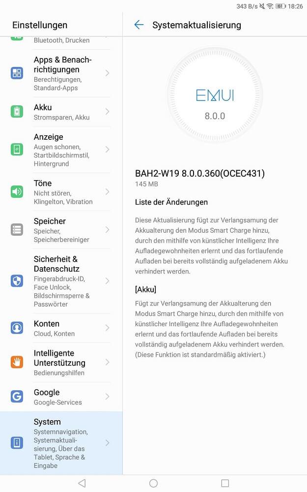 MediaPad M5 Lite Update Smart Charge