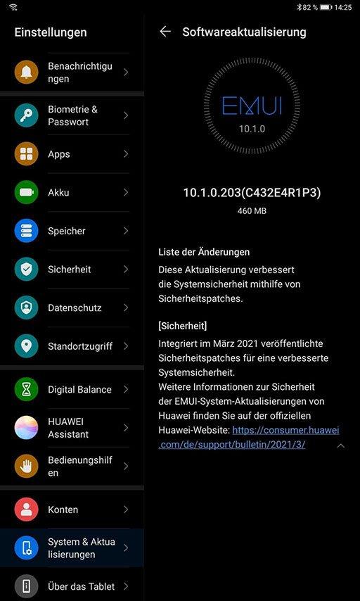 MatePad Firmwareupdate – Aprilpatch 2021 für das WiFi 6-Modell 2