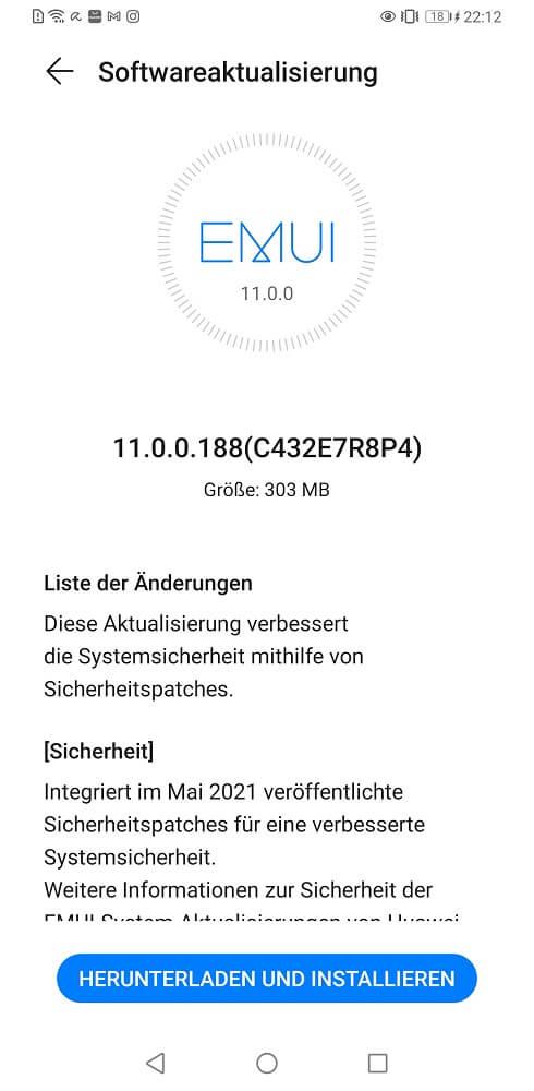 HUAWEI Mate 30 Pro Firmwareupdate Sicherheitspatch Mai 2021
