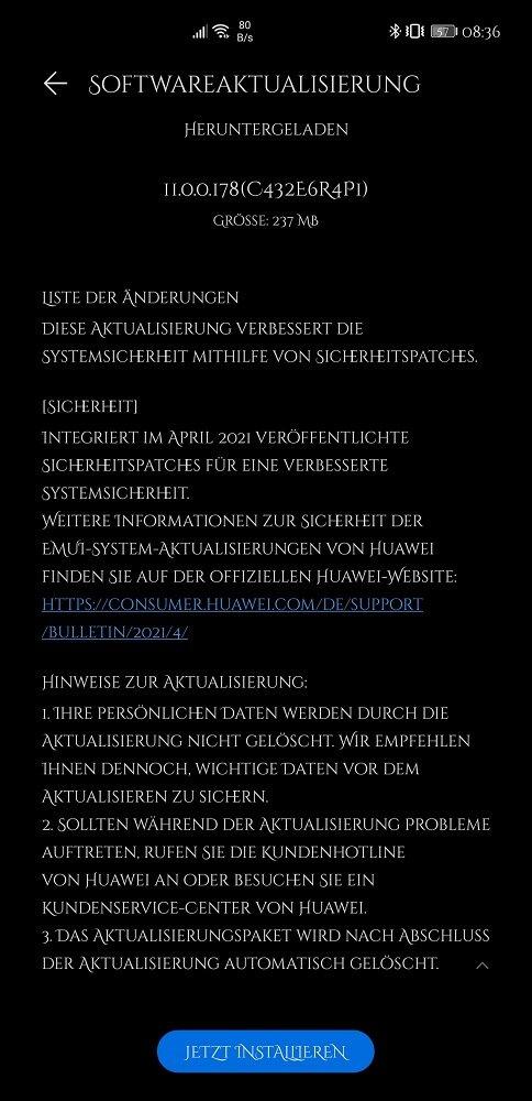 HUAWEI Mate 40 Pro Update Changelog Sicherheitspatch April 2021