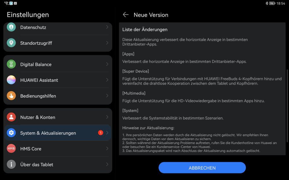 HUAWEI MatePad 11 Firmware Update 2.0.0.122 Changelog