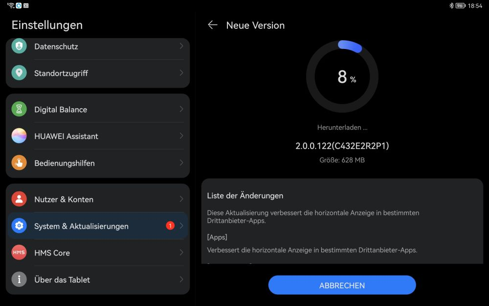 HUAWEI MatePad 11 Firmware Update 2.0.0.122
