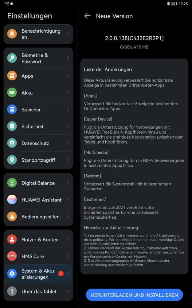HUAWEI MatePad 11 Firmware Update 2.0.0.138 Changelog