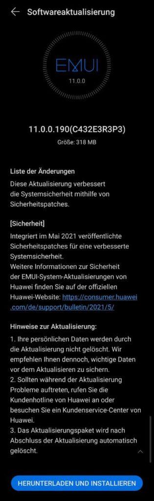 HUAWEI P40 Pro + 11.0.0.190 Update