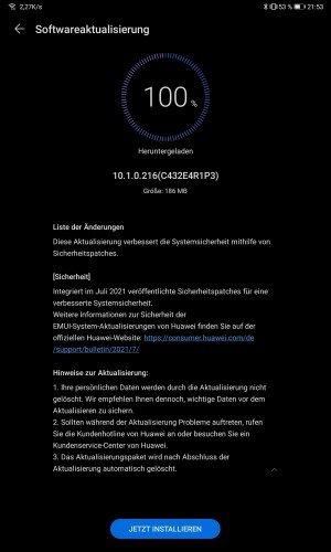 HUAWEI Matepad 10.4 10.1.0.216 Changelog