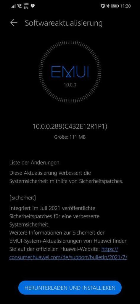 HUAWEI Mate 20 Lite Sicherheitspatch Juli 2021