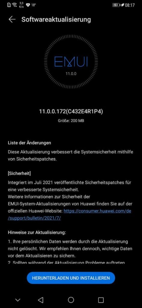 HUAWEI Mate 20 Pro Sicherheitspatch Juli 2021