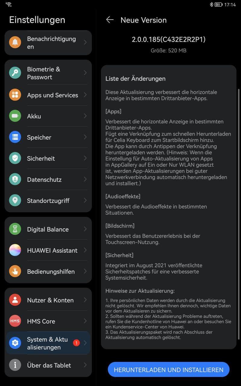 Huawei MatePad 11 Firmware Update Sammelbeitrag 1