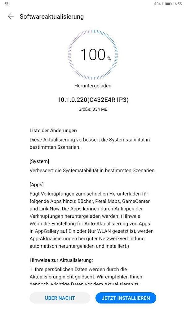 HUAWEI MatePad Firmwareupdate – neue Apps 1
