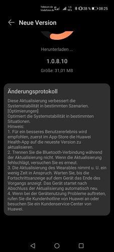 HUAWEI Watch GT2e Firmware Update 1.0.8.10