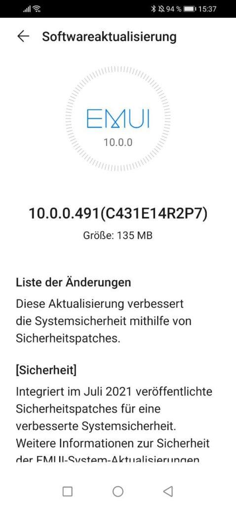 HUAWEI P30 Lite 10.0.0.491 Changelog 1