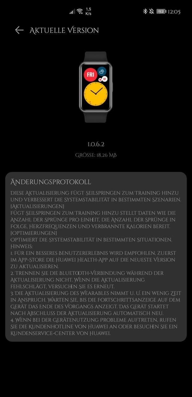 Watch Fit Update - neue Version bringt Seilspring-Modus 1