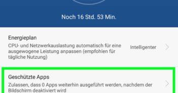 Einstellungen für geschützte Apps
