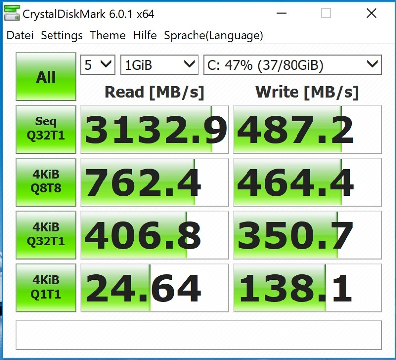 Huawei Matebook X Pro Test Crystal Disk Mark