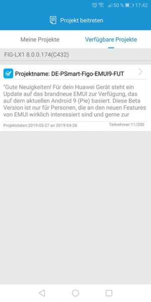 HUAWEI P Smart Android 9 Beta