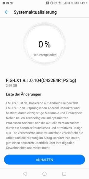 Huawei p smart software update