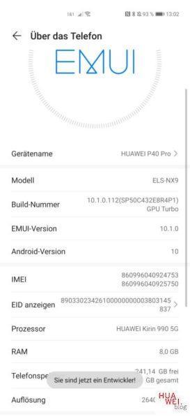 HUAWEI P40 Pro Google installieren_Entwickleroptionen