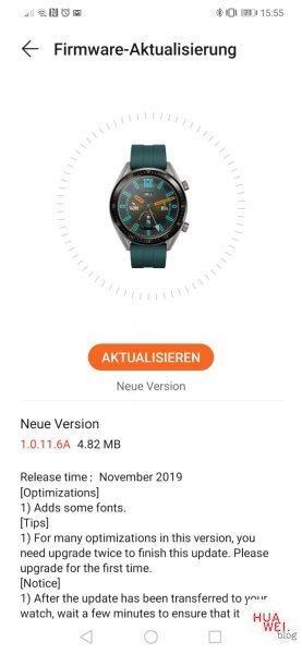 HUAWEI Watch GT Firmware Update November 2019