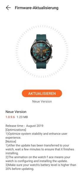 HUAWEI Watch GT Update August 2019