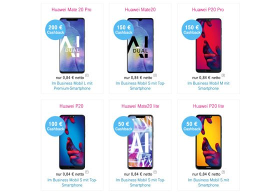 HUAWEI Cashback Aktion der Telekom – bis zu 200 EUR sparen