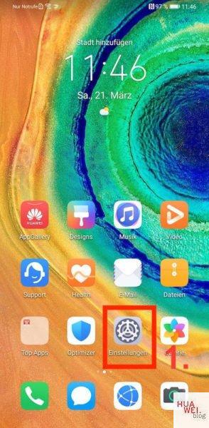 HUAWEI Mate 30 Pro Screenshot erstellen Tutorial Anleitung - Einstellungen öffnen - Schritt 1