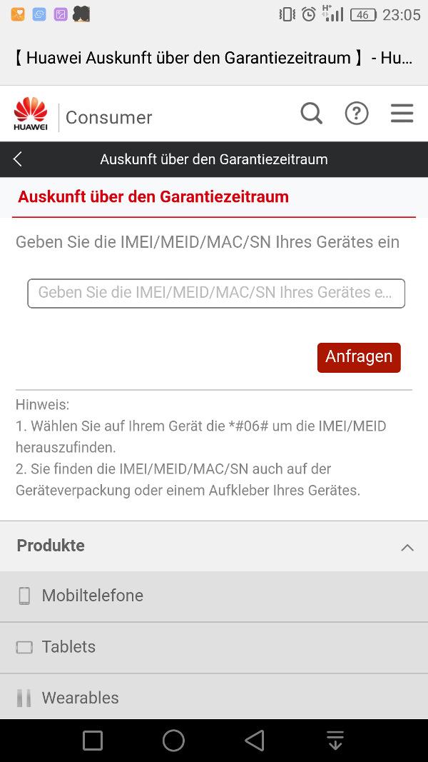 HiCare App Garantiestatus
