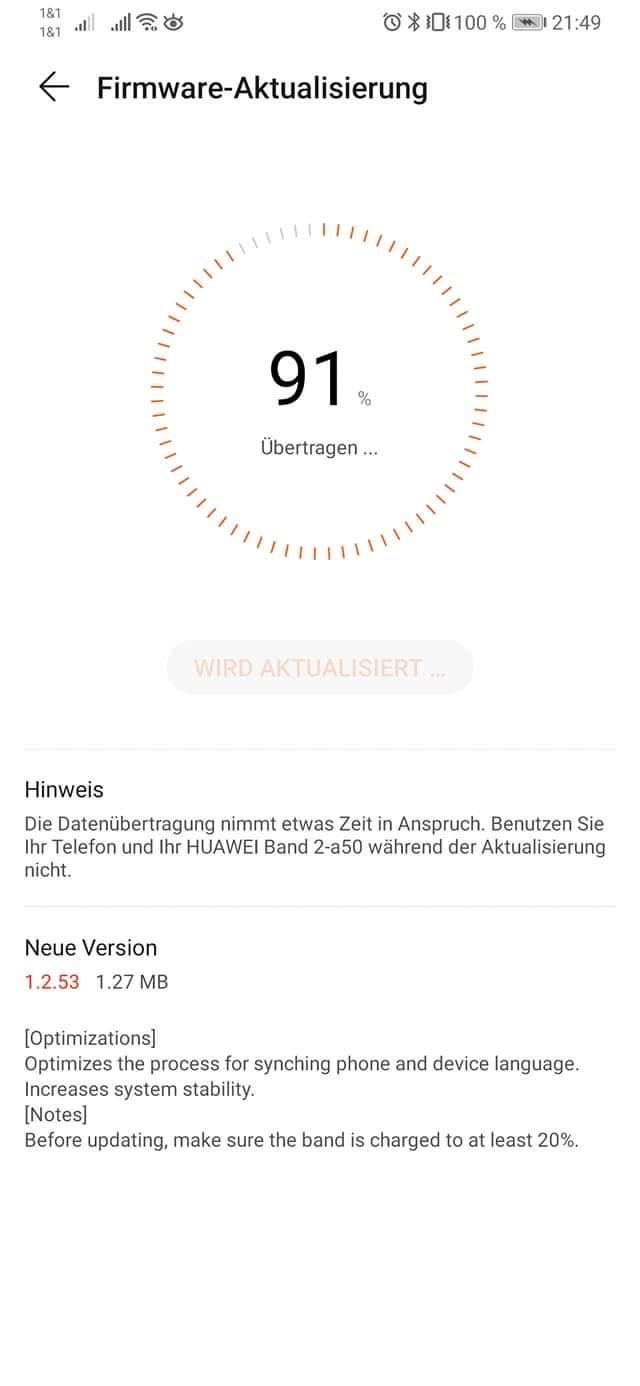 Huawei Band 2 Pro Update Oktober