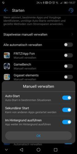Huawei Mate 10 Pro Test Startverwaltung