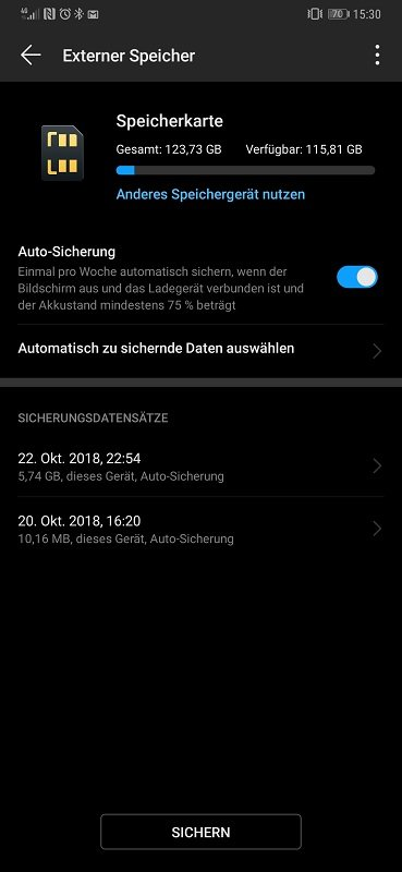 Huawei Mate 20 Pro Test Datensicherung Backup