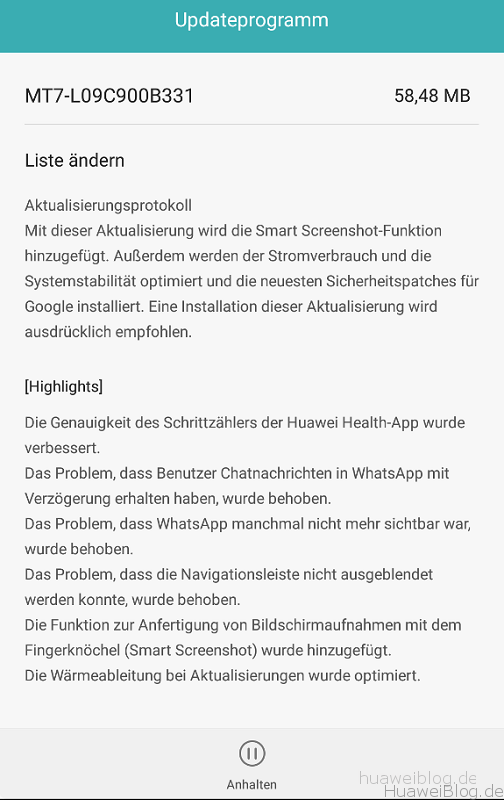 Huawei Mate 7 Firmware Update B331 Changelog