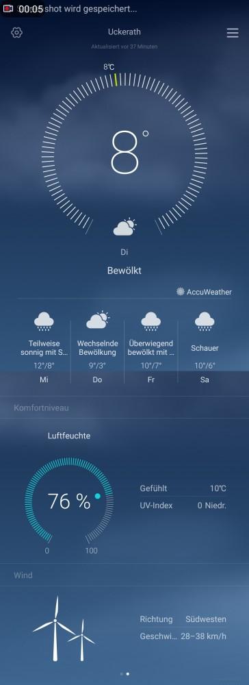 Huawei Mate 8 Wetter Scrollshot